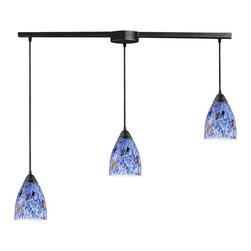 Elk Lighting - Elk 406-3L-BL 3-Light Pendant In Dark Rust and Starlight Blue Glass -406-3L-BL - Elk products are highly detailed and meticulously finished by some of the best craftsmen in the business.