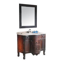 "Legion Furniture - 38 Inch Traditonal Single Sink Bathroom Vanity - This 38 inch traditional single sink bathroom vanity is a perfect center piece for your bathroom project. This Cherry Brown bathroom vanity features 2 doors, 4 drawers and a Tan Marble counter top with White under mount sink that is pre-drilled for a single hole faucet (faucet not included). Large opening in back for easy plumbing installation. Mirror NOT included.  Dimensions: 38""W  X 22.2""D X 34""H (Tolerance: +/- 1/4""); Counter Top: Tan Marble; Finish: Cherry Brown; Features: 2 Doors, 4 Drawers; Hardware: Antique Brass; Sink(s):  16.5"" Under Mount White Ceramic; Faucet:  Pre-Drilled for Single Hole (Not Included); Assembly: Assembly Required; Large cut out in back for plumbing; Included: Cabinet, Sink; Not Included: Faucet, Backsplash, Mirror (31.5"" X 35.4"")."