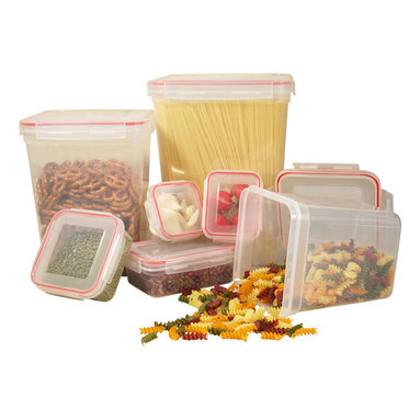 Cookpro - 14-Piece Food Container Set With Square Lock and Seal Lids - Don't be like poor Old Mother Hubbard. Fill up your cupboard — and keep your stuff fresh and organized — with this set of storage containers. Seven bases and seven locking lids are made of food-grade plastic, and move easily from pantry and refrigerator to freezer, microwave or dishwasher.