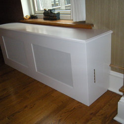 Prewar Radiator Covers - Custom removable panel with white clover screen style. Dupont wood top edge detail.