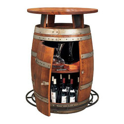 Vintage Oak Wine Barrel Bistro Table - I'm a lover of fancy entertaining and most importantly, doing it in style! If you haven't got the space for a wine cellar, you can cook up your own wine country bistro with this transformed oak barrel. It adds a rustic bistro look to your whole patio and doubles as a wine cellar and bar table.