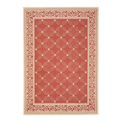 Safavieh - Red/ Natural Indoor Outdoor Rug (9' x 12') - Enhance the look of any area with this red indoor/outdoor rug. The polypropylene construction of this power-loomed rug provides easy maintenance. This rug's resistance to water,sun,mildew,and mold makes it ideal for use in your outdoor living space.
