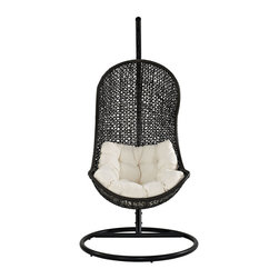 Parlay Swing Outdoor Patio Lounge Chair - Demarcate rules of engagement with this highly entropic piece. Experience a single unified front as you progress toward instrumental change. Sink into a reality defined by the rhythm of life with a soft all-weather white cushion and deeply concaved frame.