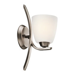 KICHLER - KICHLER Granby Transitional Wall Sconce X-TPB85354 - A subtle hint of traditional influencing is blended with clean, modern lines on this Kichler Lighting wall sconce. From the Granby Collection, it features a stylish Brushed Pewter finish and coordinating satin etched cased opal glass shade to pull the look together.