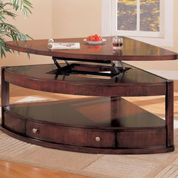 Coaster - 700246 Pie Shaped Table - This occasional pie shape coffee table features a lift top and storage drawers with brushed metal hardware.