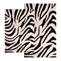 "Chesapeake Merchandising - 2 Piece Zebra Bath Rug Set in Chocolate & Ivory - This Animal Print Bath Rug Set adds a distinct fashion to your bathroom.  It is 100% plush cotton.   The bath rug set includes a 21""x34"" and 24""x40"" bath rug.  Machine Tufted with anti skid spray latex back. Dimensions: 21""W X 34""L and 24""W X 40""L; Color: Chocolate, Ivory; Material:  Cotton; Shape: Rectangular; Construction: Machine Tufted and Powerloom"