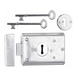 """Renovators Supply - Rim Locks Chrome On Steel Rim Lock Steel Black 3"""" H x 4 7/8"""" W - Rim Lock: Secure your home with this chrome-plated steel box lock. It is reversible, and easily installs as a surface-mount. Comes complete with skeleton keys, mounting screws, escutcheon and keeper."""