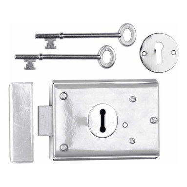 "Renovators Supply - Rim Locks Chrome On Steel Rim Lock Steel Black 3"" H x 4 7/8"" W - Rim Lock: Secure your home with this chrome-plated steel box lock. It is reversible, and easily installs as a surface-mount. Comes complete with skeleton keys, mounting screws, escutcheon and keeper."