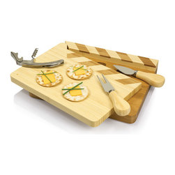 "Picnic time - Action! Clapperboard Cutting Board w/ tools - The Action! Clapperboard by Picnic Time encompasses the movie theme entirely with its movie-marker cheese board and wine and cheese tools. This classic, Hollywood-inspired, swivel-top cutting board takes ""entertaining in style"" to a new level. The two-tone bamboo board includes three essential entertaining tools. Stored beneath a swing-out movie-marker panel are a stainless steel waiter-style corkscrew, a cheese fork, and a pointed tip cheese knife. With the movie theme firmly incorporated, the Action! makes a great gift for wine, cheese, and film enthusiasts alike!"