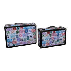 World Stamp Travel Suitcase Set of 2 - Our warm and welcoming suitcases brings back days of old time. Remember how excited you are when you were a little kid to look into your grandma's old chest, our decorative suitcase will bring back those memories and help you create some new ones too.