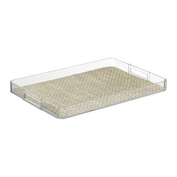 Kraftware - Handled Lucite Tray in Pearl - Woven vinyl tray liner. Removable liner for easy cleaning. Stain resistant and easy to clean. Cut out handles for easy carry. Extra large size. Stain resistant fabric. Clean with a damp cloth or mild soap and water. Made from highest quality lucite. 19 in. L x 14 in. W x 4 in. H (2 lbs.)Kraftware's Woven Collection brings beauty and durability to the Table and Bar.