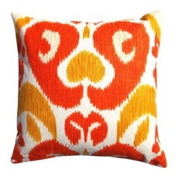 5 Surry Lane - Big and Bold Orange Daffodil Ikat Pillow - The bold colors of this pillow have an immediate pick-me-up effect that will enliven a living room. Pair with other pillows that complement the vibrant palette for a collected, eclectic look.