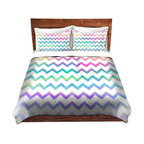 DiaNoche Designs - Duvet Cover Twill by Organic Saturation - Bubble Ikat Chevron - Lightweight and soft brushed twill Duvet Cover sizes Twin, Queen, King.  SHAMS NOT INCLUDED.  This duvet is designed to wash upon arrival for maximum softness.   Each duvet starts by looming the fabric and cutting to the size ordered.  The Image is printed and your Duvet Cover is meticulously sewn together with ties in each corner and a concealed zip closure.  All in the USA!!  Poly top with a Cotton Poly underside.  Dye Sublimation printing permanently adheres the ink to the material for long life and durability. Printed top, cream colored bottom, Machine Washable, Product may vary slightly from image.