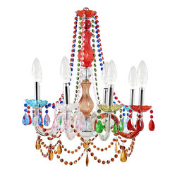 Modway Furniture - Modway Palace Acrylic Chandelier in Multicolored - Acrylic Chandelier in Multicolored belongs to Palace Collection by Modway Infuse your room with royal light with the Palace chandelier. Introduce a regal and eye-catching sparkle as eight candle-shaped bulbs shine through the vividly colored beading. The adjustable chain helps personalize your decorating heights with this majestic piece that radiates resplendent grandeur. Set Includes: One - Palace Chandelier Chandelier (1)