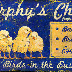 Red Horse Signs - Vintage Signs Murphy's Chicks - This  vintage  Chicks  sign  has  all  the  look  of  being  weather-worn  and  old  but  you  can  make  it  new  again  by  changing  the  name  in  the  first  and  second  lines  for  a  unique  wood  sign  ready  for  hanging  in  your  kitchen  farm  house  or  rustic  cabin.  Printed  directly  to  distressed  wood  this  sign  measures  11  x  26.