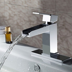 Bathroom Sink Faucets - Chrome Finish Solid Brass Contemporary Waterfall Bathroom Sink Faucet--Faucetsmall.com