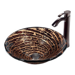 Vigo - Caramel Vessel Sink in Chocolate Swirl with Oil Rubbed Bronze Faucet - The VIGO Caramel Above The Counter Round Tempered Glass Vessel Sink in Chocolate Swirl will bring charm and elegance to your bathroom with its warm and sweet hues. Coupled with an oil-rubbed bronze faucet, this sink brings a distinguished elegance into your bathroom.