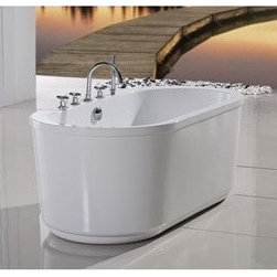 "Aquatica - Aquatica PureScape 103 Freestanding Acrylic Bathtub - White - Treat yourself and soak in peaceful tranquility with Aquatica's stylish and ergonomic PureScape 103 freestanding bathtub. Aquatica challenges everything we thought we knew about a bathtub with the world-class modern design and ergonomic features that are incorporated into all of their luxury tubs. Aquatica Purescape bathtubs are as pleasing to the eye as they are to soak in. Their striking visual appeal adds a mesmerizing modern elegance to any bathroom. From the finest selection of raw materials all the way to the high-class design, Aquatica has spared no expense to innovate and create some of the highest quality bathtubs in the world.FEATURES:Striking upscale modern designFreestanding constructionSolid, one-piece construction for safety and durabilityExtra deep, full-body soakErgonomic design forms to the body's shape for ultimate comfortQuick and easy installationConstructed of 8mm thick 100% heavy gauge sanitary grade precision acrylicPremium acrylic and tub thickness provides for excellent heat retentionHigh gloss white surfaceColor is consistent throughout its thickness - not painted onColor will not fade or lose its brilliance overtimePreinstalled cable drive pop up and waste-overflow fitting includedDesigned for one or two person bathingNon-porous surface for easy cleaning and sanitizingBuilt-in metal base frame and adjustable height metal legsChrome plated drain5 Year Limited WarrantyCode compliant with American standard 1.5"" waste outletsSPECIFICATIONS:Overall Dimensions: 64.5 in. L X 31.5 in. W X 23.67 in. HDepth to Overflow Drain: 14.75 in.Interior Depth: 17.5 in.Interior Length (Top): 58.25 in.Interior Width (Top): 25.25 in.Interior Length (Bottom): 43 in.Interior Width (Bottom): 19 in.Weight: 140 lbsCapacity: See Spec SheetShape: OvalDrain Placement: CenterSpec SheetNote: This model usually ships in 1-2 days. Please allow an additional 2-3 business days for order transmittal and verification."