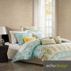 Echo - Paros Paisley 4-piece Comforter Set with Optional Euro Sham Sold Separately - Add a pop of color to any bedroom decor with the Echo Paros 4-piece comforter set with optional Euro sham sold separately. Made of 100-percent cotton sateen,this set features a paisley pattern on a teal background. Machine washable for easy care.