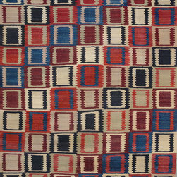 """ALRUG - Handmade Multi-colored Oriental Kilim  7' 10"""" x 9' 11"""" (ft) - This Afghan Kilim design rug is hand-knotted with Wool on Wool."""
