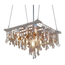 ecofirstart - Billiards Chandelier - The Billiards Chandelier is a grand and elegant matrix industrial brass serving as a platform for light and crystal. An orderly array of alternating crystals on the piece��_��s periphery gives way to a more random, decadent cascade of crystal toward the center. It is a bold and beautiful centerpiece for any distinguished room.