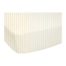"""SheetWorld - Fitted Sheet (Fits BabyBjorn Travel Crib Light) - Yellow Stripes Jersey Knit - This luxurious plush 100% cotton """"jersey knit"""" travel crib light (fits babybjorn) sheet is what your baby deserves to sleep on. Our sheets are made of the highest quality fabric that's measured at 150 gsm (grams per square meter). That means these are softer than your favorite t-shirt, and as soft as flannel. Sheets are made with deep pockets and are elasticized around the entire edge which prevents it from slipping off the mattress, thereby keeping your baby safe. These sheets are so durable that they will last all through your baby's growing years. We're called sheetworld because we produce the highest grade sheets on the market today. Features a soft yellow pinstripe printed on a solid white background. Size: 24 x 42. Not a BabyBjorn product. Sheet is sized to fit the BabyBjorn crib. BabyBjorn is a registered trademark of BabyBjorn AB."""