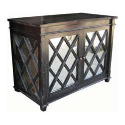 NOIR - NOIR Furniture - Antique Glass Chest - GDRE121, Hand Rubbed Black - Featuring natural, simple and classic designs, Noir products supply a timeless complement to a variety of interiors. This glass chest provides dining rooms with ample storage disguised by antique character. Adorned with weathered mirrored diamonds and oil rubbed bronze hardware, the mindi wood furnishing features a chic gray wash and one adjustable interior shelf for dishware or linens.