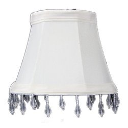 Home Concept - Candelabra Stretch Eggshell with Liner, Clear Beads 3x5x4 - Celebrate Your Home - Home Concept invites you to welcome your guests with our array of lampshade styles that will instantly upgrade your space