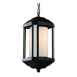 Trans Globe Lighting - 40255 BK 1 Light Hanging Lantern40250 Series Collection - Contemporary outdoor lantern lighting with mid-century sophistication. Get curb appeal with style in this over-hang design lantern with yellow tinted ridge glass. Corner panels compliment the fixture as outside windows. Sturdy layered roof and base make this closed fixture a perfect compliment to garden and landscape area.
