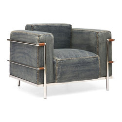"""Zuo Modern - Lasso Armchair by BSEID - Simply framed in chrome with wide denim cushions, the Lasso Armchair will definitely be the seat of choice when seeking comfort. Each seam is double stitched in tan, just like your favorite blue jeans. Pair this with a great ottoman, side table for convenience, good lighting, and you're all set. (ZM) 37.3"""" Wide x 32"""" Deep x 28.3"""" High seat height 15"""""""