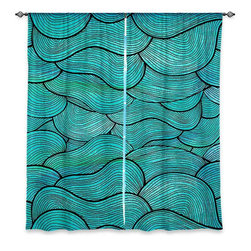 "DiaNoche Designs - Window Curtains Lined by Pom Graphic Design Sea Waves Pattern - Purchasing window curtains just got easier and better! Create a designer look to any of your living spaces with our decorative and unique ""Lined Window Curtains."" Perfect for the living room, dining room or bedroom, these artistic curtains are an easy and inexpensive way to add color and style when decorating your home.  This is a woven poly material that filters outside light and creates a privacy barrier.  Each package includes two easy-to-hang, 3 inch diameter pole-pocket curtain panels.  The width listed is the total measurement of the two panels.  Curtain rod sold separately. Easy care, machine wash cold, tumble dry low, iron low if needed.  Printed in the USA."