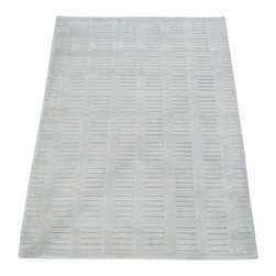 1800-Get-A-Rug - Ivory Oriental Rug Hand Loomed Bamboo Silk Tone on Tone Modern Sh20138 - Our Modern & Contemporary hand knotted rug collection contains some of the latest designs in the industry. The range includes geometric, transitional, abstract, and modern designs; from the Tibetans to the Gabbeh. We offer an entire line of contemporary designs, whether you're searching for sophisticated and muted to the vibrant and bold handmade rugs.