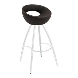 "LexMod - Persist Bar Stool in Brown - Persist Bar Stool in Brown - Patterns of discovery begin anew with the continuous design of the Persist modern bar stool. While your rendezvous with friends may seem to end, the freshly pressed memories are everlasting. For a design that has no end or beginning, Persist has a way of keeping every experience fresh and exciting. Made of chrome-plated stainless steel, and a tubular padded vinyl seat, live every moment as an essential part of every other. Set Includes: One - Persist Bar Stool Fits most bars and countertops, Easy wipe clean surface, Chrome plated steel frame, Tubular vinyl molded foam seat Pad , Non-marking feet, Assembly required Overall Product Dimensions: 16""L x 17""W x 34""H Footrest Height: 10.5""HBACKrest height: 7.5""H Seat Height: 28""H - Mid Century Modern Furniture."