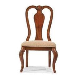 Legacy Classic - Evolution Queen Anne Side Chair in Rich Auburn Finish - Set of 2 - Set of 2. Queen Anne back design. Upholstered seat. Polyester & Cotton fabric. Made of American hardwood frame & quartered Okoume Mahogany veneers. Assembly required. 24 in. W x 23 in. D x 42 in. H (24.2 lbs.)
