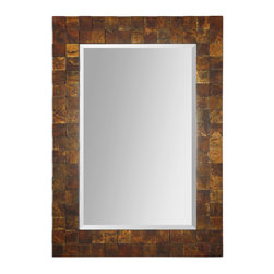 Uttermost - Ambrosia Copper Mosaic Mirror - A mesmerizing mosaic mirror! Imagine surrounding yourself by beautiful oxidized copper tiles every day. Centered by a generously beveled mirror, you can hang this large rectangular frame horizontally in a hallway or vertically in the entryway — wherever you need a room-defining piece.