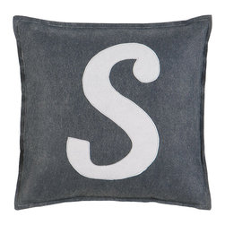 "Eastern Accents - Spell It Out S Pillow - Featuring a white ""S"" on a grey background, the Spell It Out felt pillow brings a typographic touch to a sofa, chair or bed. This on-trend accent creates a personalized look when displayed individually or with other letters and symbols (available separately). Handcrafted for the modern home, this decorative pillow charms with its unique fabrication, simple design and neutral color palette. 16"" Square; Hand-cut felt piecing; High quality polyester fiber pillow insert included; Zipper closure"