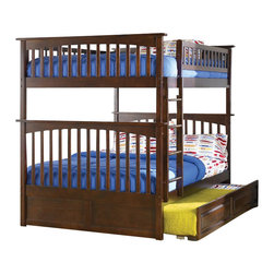 Atlantic Furniture - Atlantic Furniture Columbia Full over Full Bunk Bed in Antique Walnut - Atlantic Furniture - Bunk Beds - AB55504 - The Atlantic Furniture Columbia Full over Full Bunk Bed has a clean modern look with subtle Mission styling. The simple lines of the head and foot boards have the square posts and slats characteristic of this design. This versatile bunk bed is available in a number of options that is sure to please both you and your child.