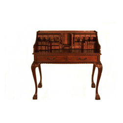 "n/a - Escritoire Writing Desk Hand Carved European Style - Our 42"" Escritoire ( Writing desk) utilizes eight cubicles and seventeen drawers���including five secret ones for credit cards and bills. This distinctive, solid mahogany desk has a rich blend of French and English period style.  Skilled artisans work more than six days to carve each desk!  The ball and claw Chippendale legs are a yard wide so any Chippendale side chair easily fits under it. The desktop has rope carved detail and hand-carving on three sides. Quality solid hardwood, authentic metal pulls and  hidden details make this a stunning piece for generations to come."