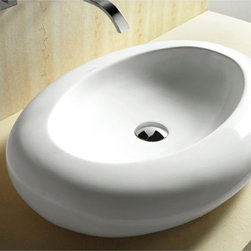 Caracalla - Oval Shaped White Ceramic Vessel Bathroom Sink - Modern style, oval shaped white ceramic vessel bathroom sink with no hole. Chic above counter washbasin comes without overflow. Made in Italy by Caracalla. Made out of white ceramic. Contemporary design. Without overflow. Standard drain size of 1.25 inches.