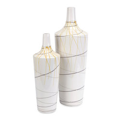 iMax - Curasso Retro Finish Vases, Set of 2 - Colorful line art decorates the white forms of this set of two ceramic vases.