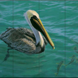 The Tile Mural Store (USA) - Tile Mural - Pelican Temp Fate - Dr - Kitchen Backsplash Ideas - This beautiful artwork by Don Ray has been digitally reproduced for tiles and depicts a pelican eyeing some lunch.  Images of waterfowl on tiles are great to use as a part of your kitchen backsplash tile project or your tub and shower surround bathroom tile project. Pictures of egrets on tile, images of herons on tile and decorative tiles with ducks and geese make a great kitchen backsplash idea and are excellent to use in the bathroom too for your shower tile project. Consider a tile mural of water fowl for any room in your home where you want to add interesting wall tile.