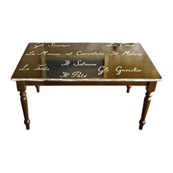 """Used Farm Style Dining Table with Calligraphy Design - Charming """"Vintage Gone Modern"""" farm style dining table creatively designed with Italian culinary calligraphy for your table setting. The perfect pick for a shabby chic inspired country kitchen!"""