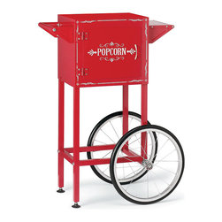 Frontgate - Waring Popcorn Maker Trolley - Holds the Waring Pro professional popcorn maker (sold separately). Shelf for cups, bowls, and napkins. Storage compartment with magnetized door keeps ingredients at hand. Easy to move. Rubberized feet protect your floors. This vintage-inspired Popcorn Trolley turns any occasion into a party. Sturdily constructed with two smooth-rolling wheels, two legs for secure placement, and a bar-style handle that doubles as a towel hanger. To complete the look, it's accented with elegantly detailed scrollwork.  .  .  .  .  . Some assembly .