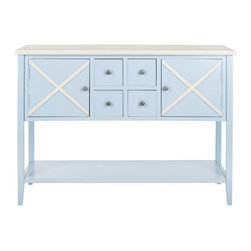Safavieh - Safavieh Adrienne Poplar Wood Sideboard in Light Blue and White - Safavieh - Buffet Tables & Sideboards - AMH6601B - The Adrienne Sideboard is your gateway to easy entertaining. Crafted of light blue painted poplar wood with two wide doors and four apothecary drawers it opens up bright decorating possibilities in the dining room or wherever extra storage is needed. With contrasting white top and x-details Adrienne is simplicity at its best.