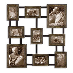 Uttermost - Lucho Hanging Photo Collage - Create A Collage Of Your Favorite Photos With This Hanging Photo Collage Made Of Hand Forged Metal Finished In Dark Burnished Wash With Silver Undertones And Aged Black Details. Holds 2-8x10, 3-4x6, 4-6x4
