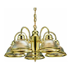 DHI-Corp - Millbridge 5-Light Chandelier, Polished Brass - The Design House 500546 Millbridge 5-Light Chandelier is made of formed steel, clear ribbed glass and finished in polished brass. This 5-light chandelier is rated for 120-volts and uses (5) 60-watt medium base incandescent bulbs. This chandelier's sprawling arms meet (5) downward facing lamps gently diffusing light from above. Measuring 14-inches (H) by 22-inches (W), this 9.3-pound fixture has a 48-inch chain to extend from high ceilings. Curved lines and soft details add a modern accent in a kitchen, dining room or entry way. This product is UL and cUL listed. The Millbridge collection features a beautiful matching pendant, wall sconce, ceiling mount and vanity light. The Design House 500546 Millbridge 5-Light Chandelier comes with a 10-year limited warranty that protects against defects in materials and workmanship. Design House offers products in multiple home decor Categories including lighting, ceiling fans, hardware and plumbing products. With years of hands-on experience, Design House understands every aspect of the home decor industry, and devotes itself to providing quality products across the home decor spectrum. Providing value to their customers, Design House uses industry leading merchandising solutions and innovative programs. Design House is committed to providing high quality products for your home improvement projects.