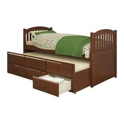 Sonax - Sonax CorLiving Heritage Place Solid Wood Twin Platform Bed with Storage Trundle - Sonax - Beds - BHP973S - Beautify your child�s sleeping space with the Heritage Place Collection single trundle bed from CorLiving. The natural brown stained bed with classic post caps, beader boards and multi-rail, soft arch top styling will provide the perfect addition to any room. Features a hidden trundle bed and three large drawers for storage, so you can keep an extra mattress out of sight, rolling it out only when you need it. Upgraded with 12 slats of mattress support on each bed, placing your mattress directly on the sturdy wood slats eliminates the need for a box spring. Rest comfortably knowing you�ve invested in a solidly constructed bed from CorLiving.