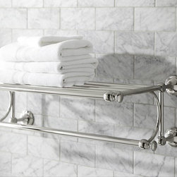 Mercer Train Rack - A shelf in the bath is quite functional because storage is usually at a premium. This one has the look of an elegant old hotel fixture. I picture it piled high with soft and fluffy white towels.