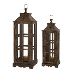 Casa Cortes - Santa Barbara Weathered Wood 2-piece Square Lantern Set - Line pathways and stairs with soft,flickering candlelight,this unique two-piece lantern set is ideal to provide welcoming glow to any home decor. With timeless styling,these lanterns shelter the glow of candles in clear glass.