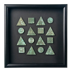 Salvatecture Studio - Group of 16 Framed Bronze Antique African Ashanti Coins - A one of a kind piece that is bursting with history, this is an amazing collection of Ashanti coins. The geometric shapes of the coins will look fantastic in numerous design schemes, so you could even insert a little bit of the old into a modern room.